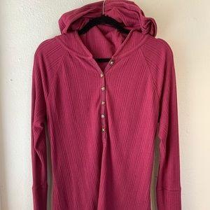 Burton maroon thermal hooded shirt sweater medium